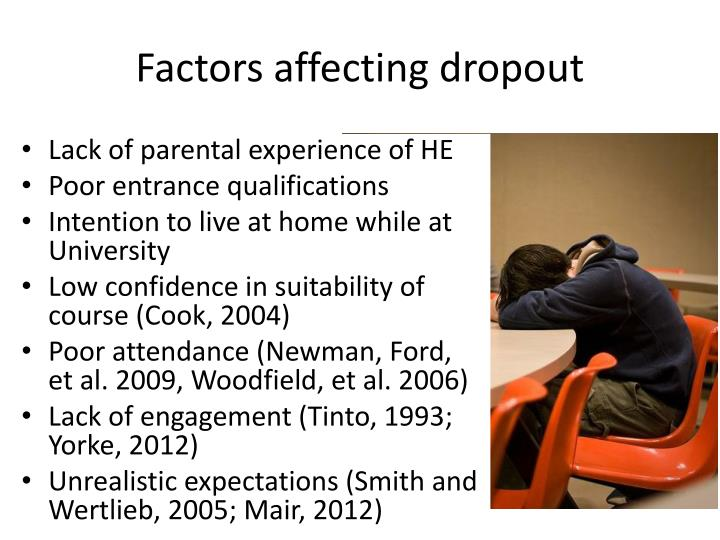 the factors that affect the drop out rate of students essay Many texas teenagers drop out of school every year although the drop out rates we hear are often exaggerated, retaining students is still a very large high school dropouts students dropping out of high school are becoming more and more common one thing they fail to be aware of is the cause.