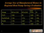 average size of manufactured homes in regional heat pump savings evaluation