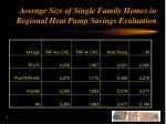average size of single family homes in regional heat pump savings evaluation