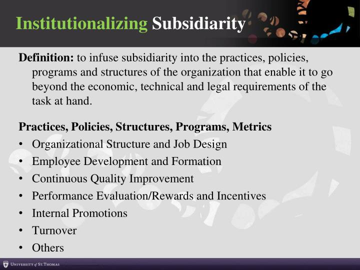 Institutionalizing