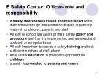 e safety contact officer role and responsibility