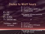 joules to watt hours