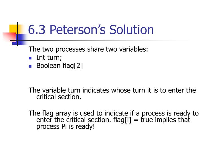 6.3 Peterson's Solution