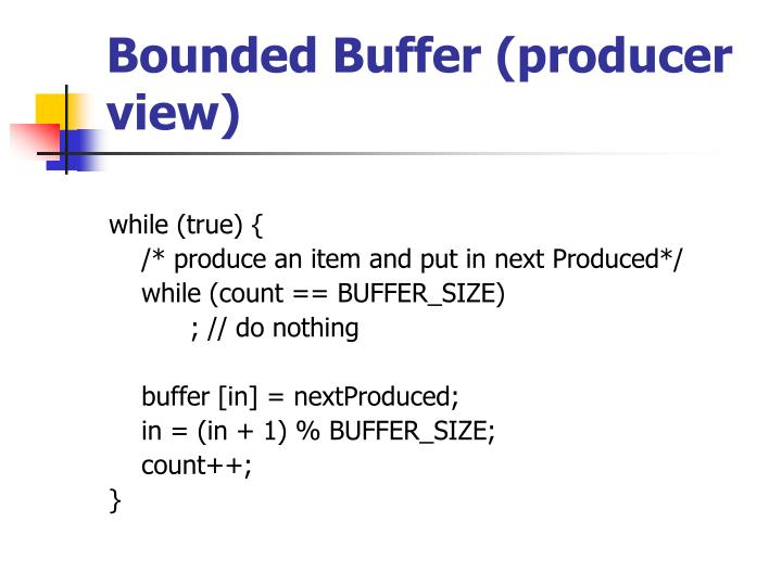 Bounded Buffer (producer view)