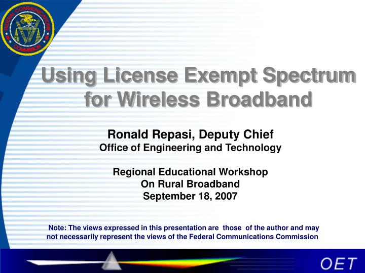using license exempt spectrum for wireless broadband n.