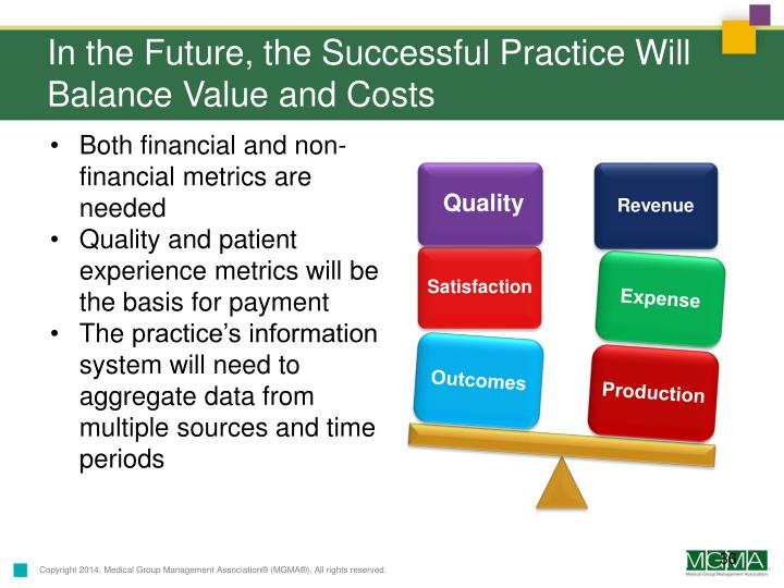 In the Future, the Successful Practice Will Balance Value and Costs