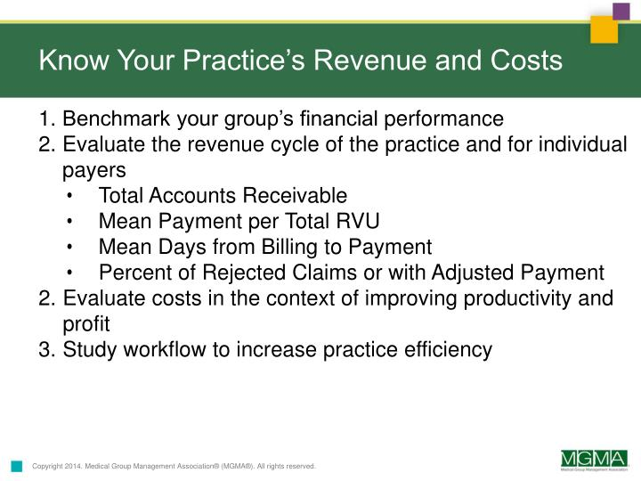 Know Your Practice's Revenue and Costs
