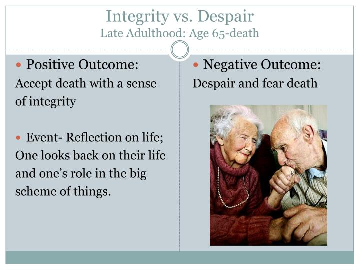 erik erikson and late adulthood Emotions and stability vary widely in late adulthood theorist erik erikson (1902-1994) devised a framework for development based on psychosocial stages.