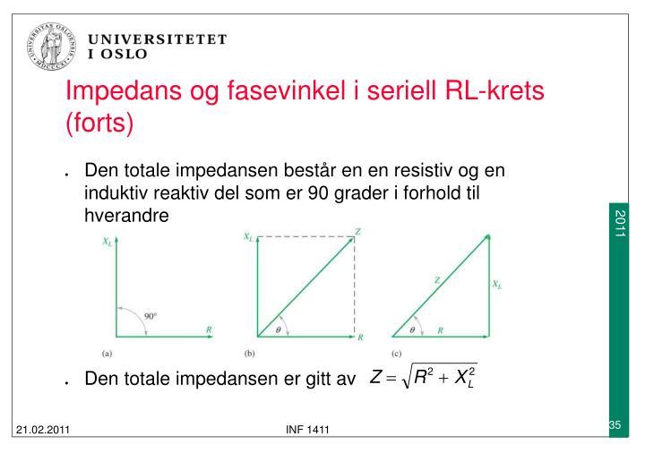 Impedans og fasevinkel i seriell RL-krets (forts)