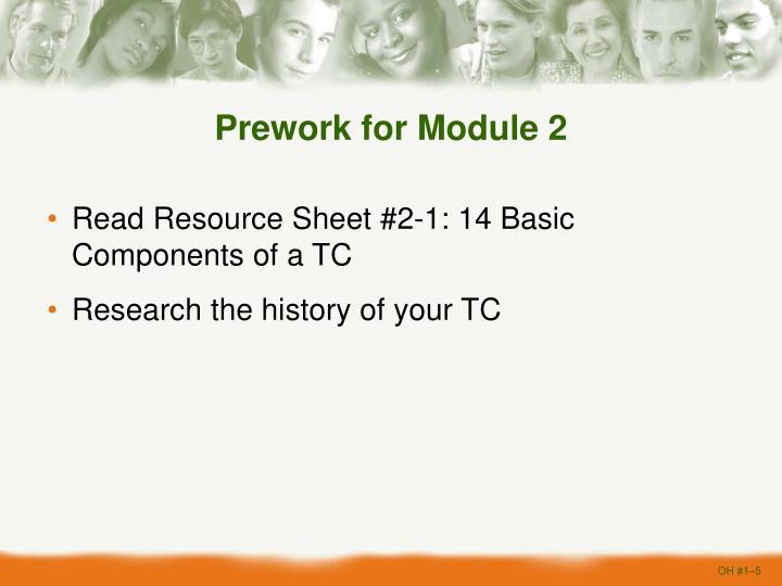 Prework for Module 2