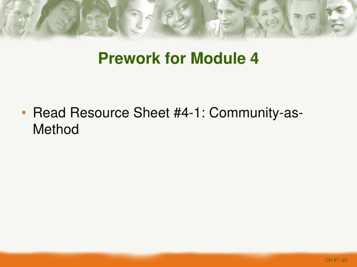 Prework for Module 4