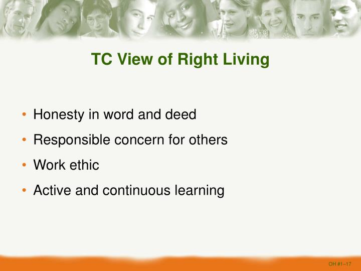 TC View of Right Living