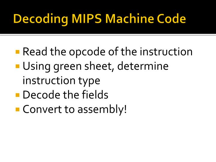 Decoding MIPS Machine Code