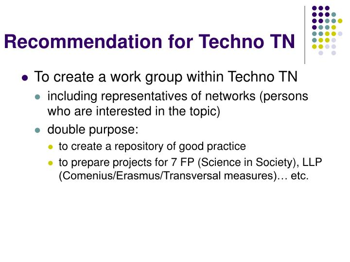 Recommendation for Techno TN
