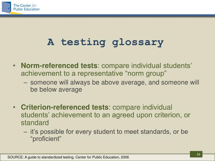 A testing glossary