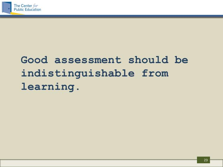 Good assessment should be indistinguishable from learning.
