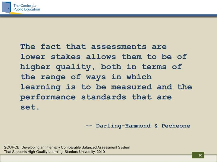The fact that assessments are lower stakes allows them to be of higher quality, both in terms of the range of ways in which learning is to be measured and the performance standards that are set.