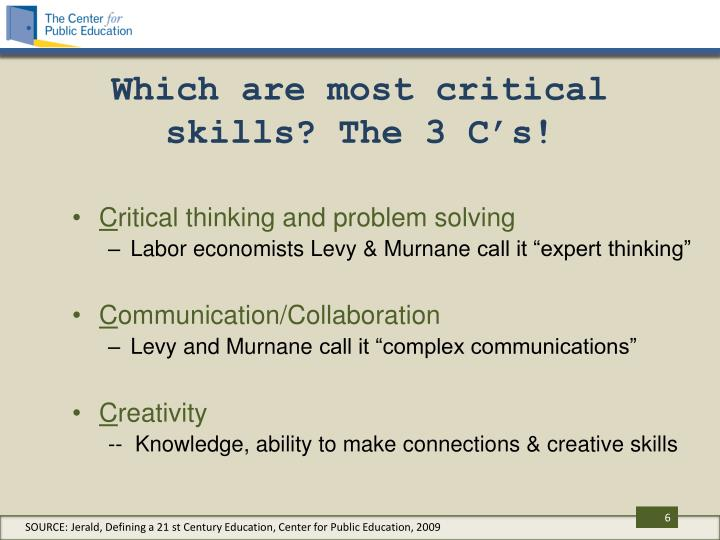 Which are most critical skills? The 3 C's!