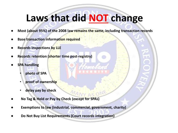 Laws that did