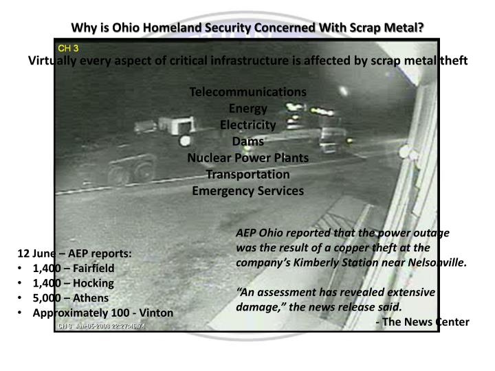 Why is Ohio Homeland Security Concerned With Scrap Metal?