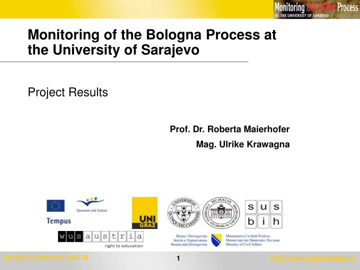 monitoring of the bologna process at the university of sarajevo