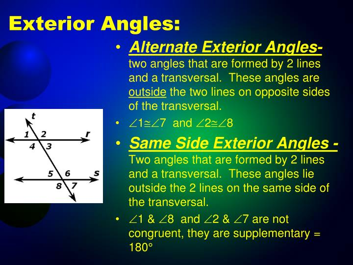 Ppt parallel lines transversals powerpoint - Same side exterior angles are congruent ...