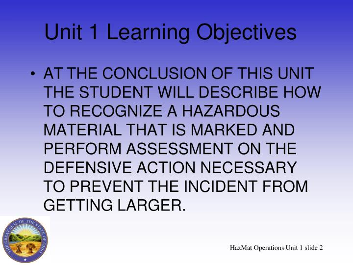 Unit 1 learning objectives