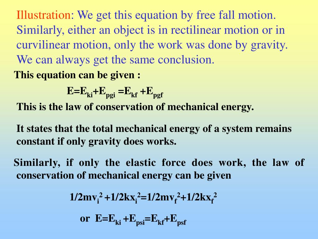 PPT - The law of conservation of mechanical energy