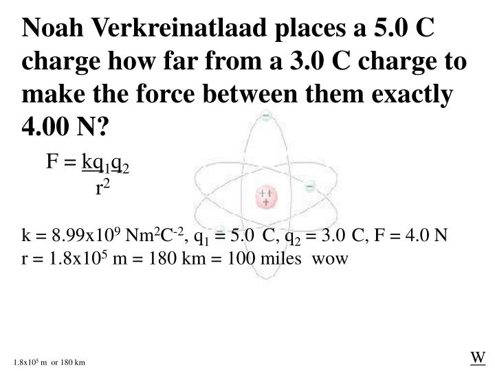 Noah Verkreinatlaad places a 5.0 C charge how far from a 3.0 C charge to make the force between them exactly 4.00 N?