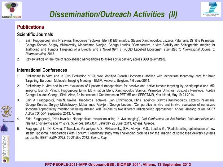 Dissemination/Outreach Activities