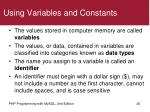 using variables and constants