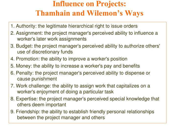 Influence on Projects: