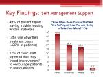 key findings self management support