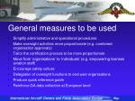 general measures to be used