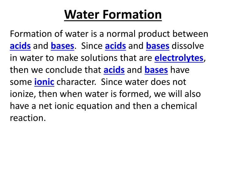 Water Formation