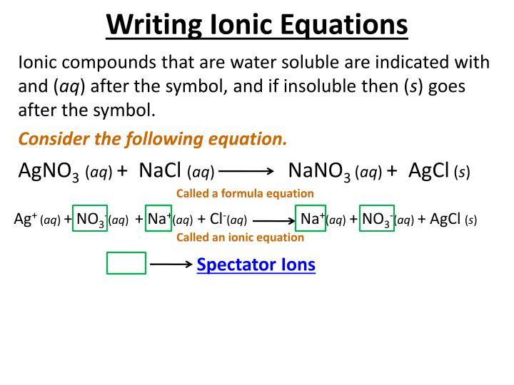 Writing Ionic Equations