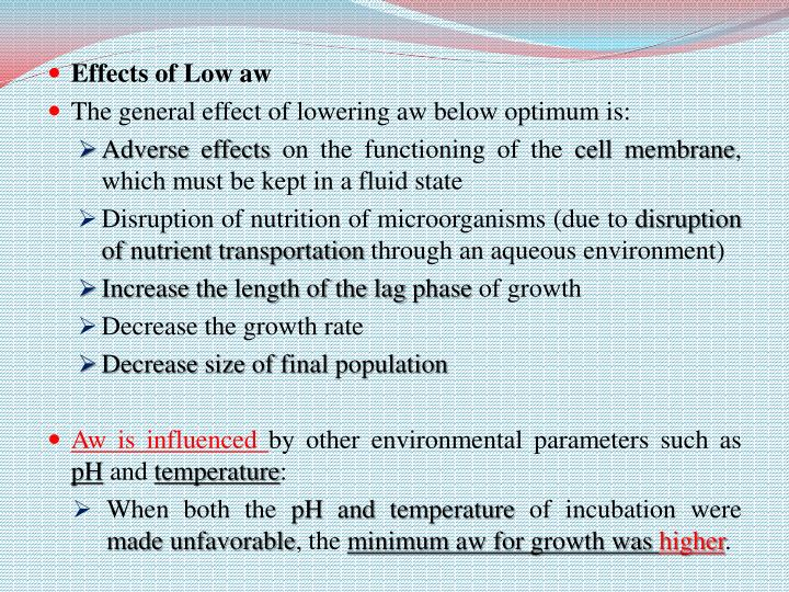 Effects of Low aw
