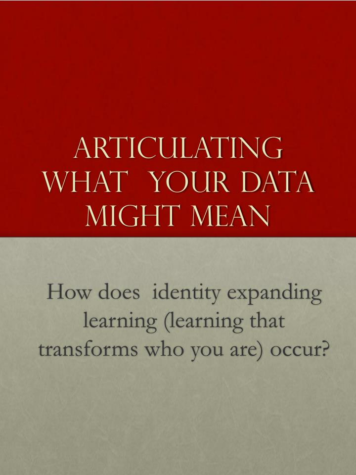 Articulating What  Your Data Might Mean