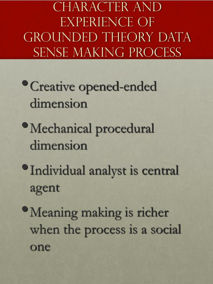 Character and Experience of Grounded Theory Data Sense Making Process