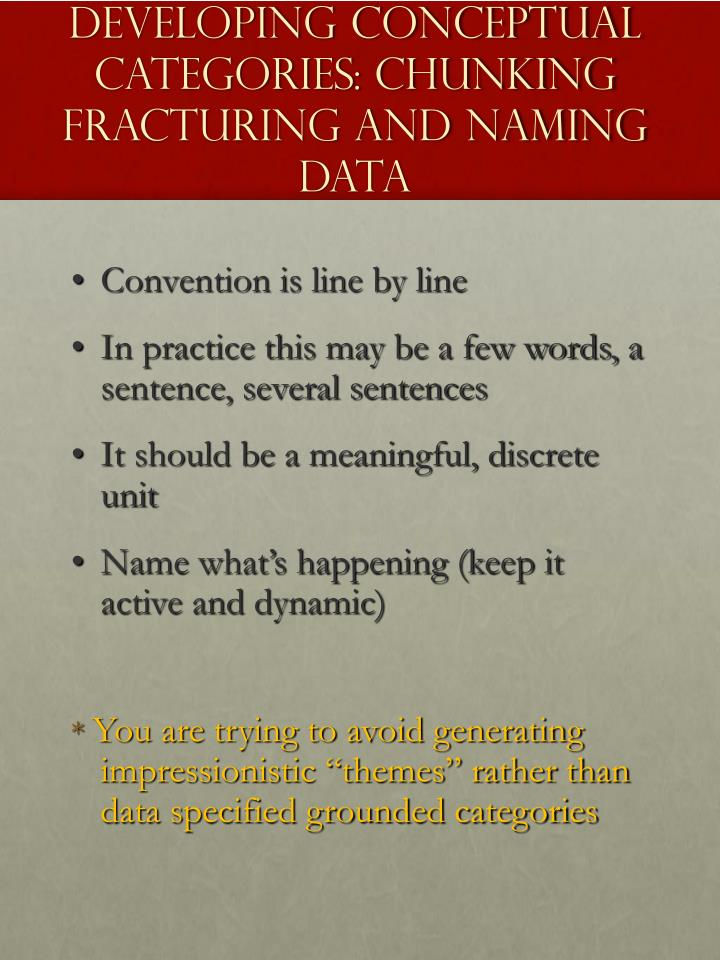 Developing Conceptual Categories: Chunking Fracturing and Naming Data
