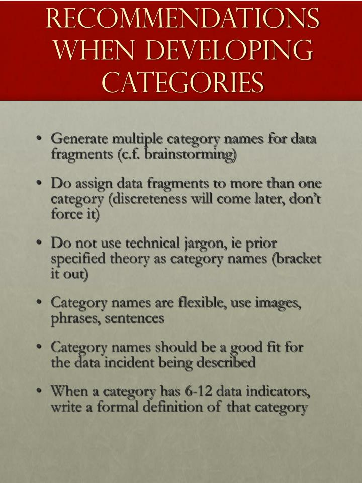 Recommendations when developing categories
