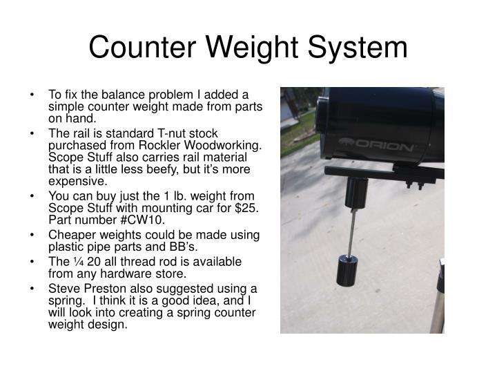Counter Weight System
