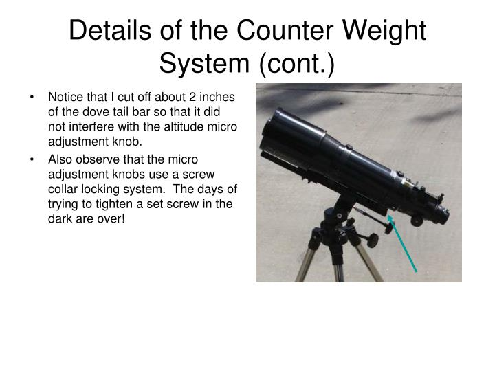Details of the Counter Weight System (cont.)