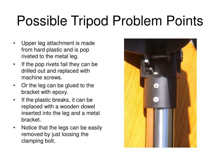 Possible Tripod Problem Points