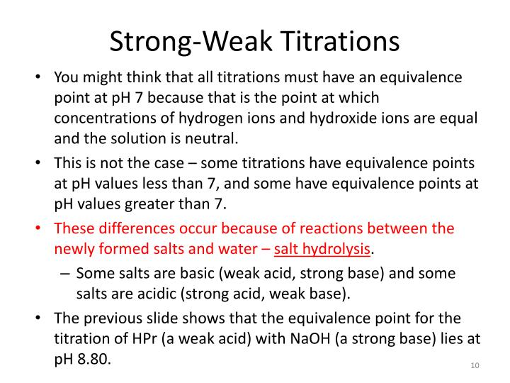 Strong-Weak Titrations