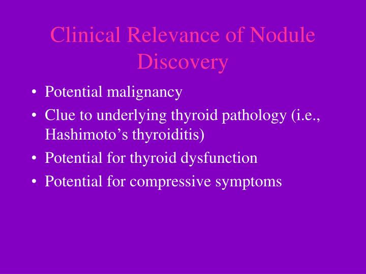 Clinical relevance of nodule discovery