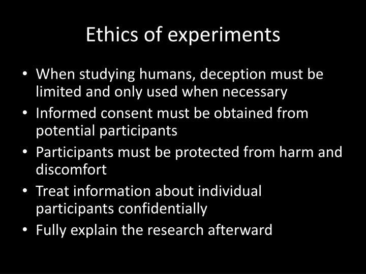 Ethics of experiments