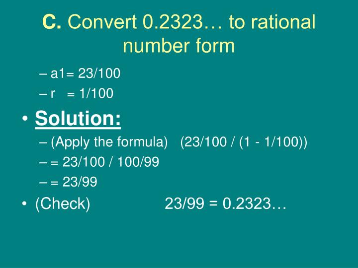 C Convert 0 2323 To Rational Number Form