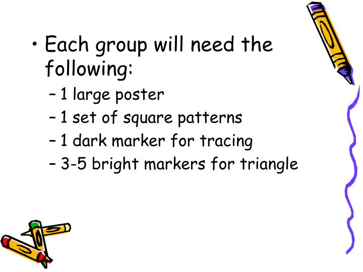 Each group will need the following:
