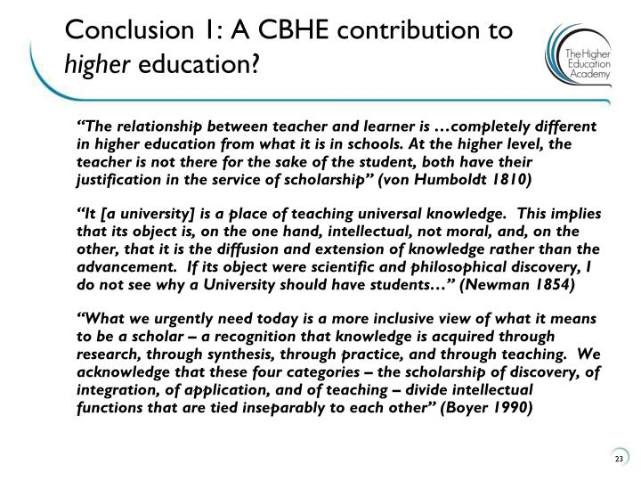 Conclusion 1: A CBHE contribution to